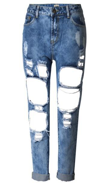 Holes Loose Solid Blue Straight 9/10 Boyfriend Jeans - Meet Yours Fashion - 9