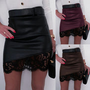 Sexy Leather Lace Patchwork Bodycon Mini Skirts