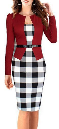 Plaid Patchwork Scoop Long Sleeves Knee-length Pencil Dress With Belt