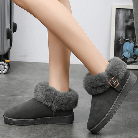 Fur Flat Suede Buckle Like Uggs Ankle Boots
