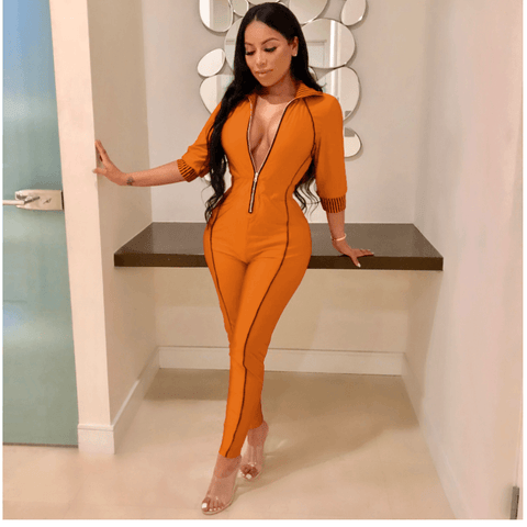 Long Sleeves Zipper Bright Color Jumpsuits