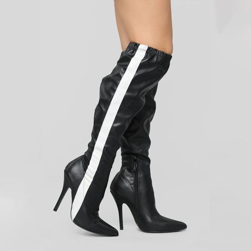 Sexy PU Colorblock Pointed Toe High Heel Knee High Boots