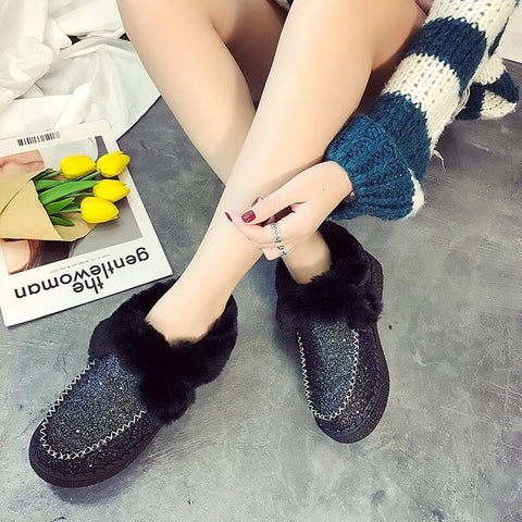 Snow Glitter Fur Low Heel Rivet Boots