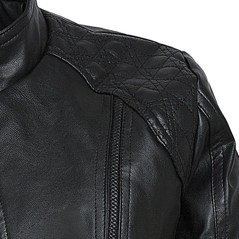 Simple Black Faux Leather Jacket