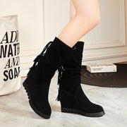 Wedge Flat Suede Fringe Mid Calf Boots