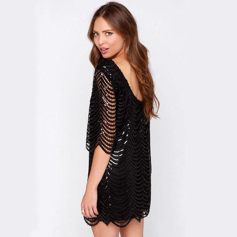 Loose Shinning Open Back Sequins Short Party Dress