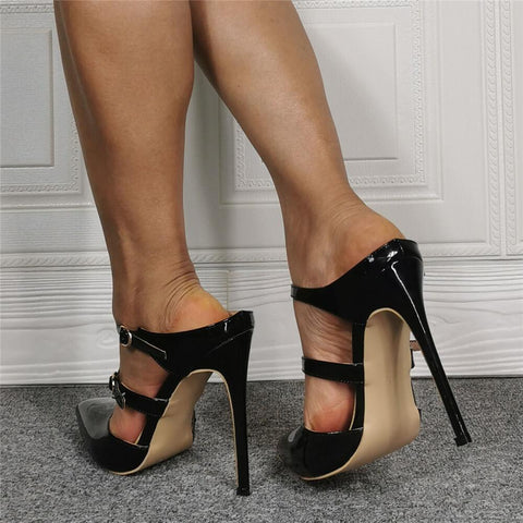 Party Black PU Point Toe High Heel Buckle Sandals