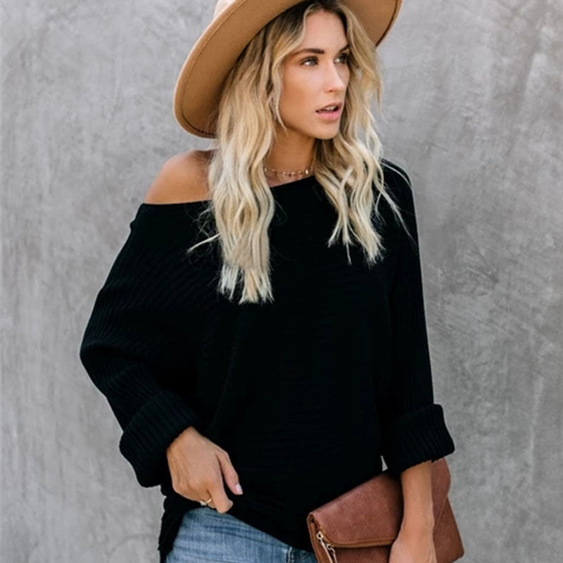 Loose One Shoulder Ribbed Knit Sweater