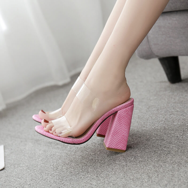 Block Chunky Heel Cutout Sandals