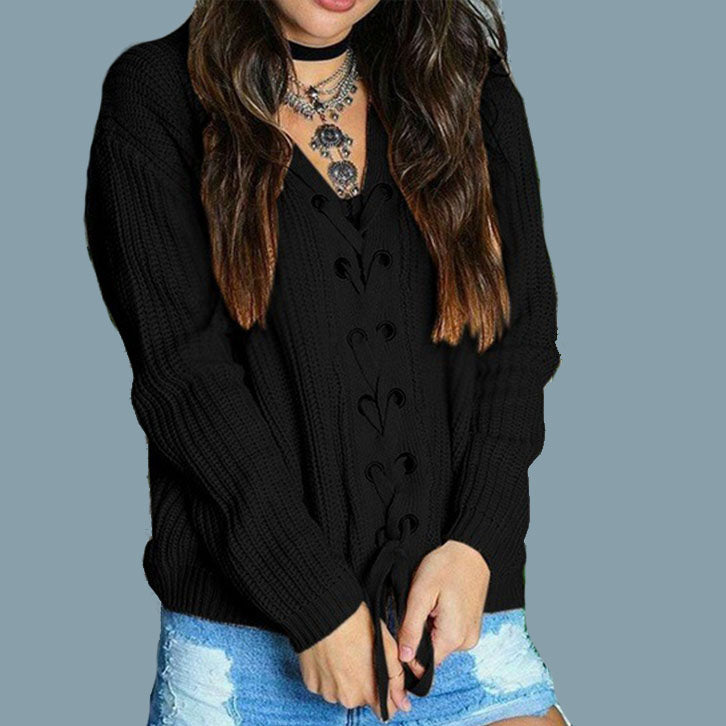 Oversized V Neck Lace-up Knit sweater