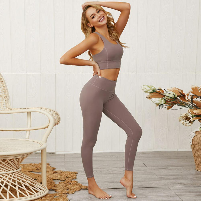 Sports Plain Tank Top High Waist Bodycon Skinny Pant Sets