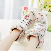 Floral Print Increased Lace Up High Top Sneakers