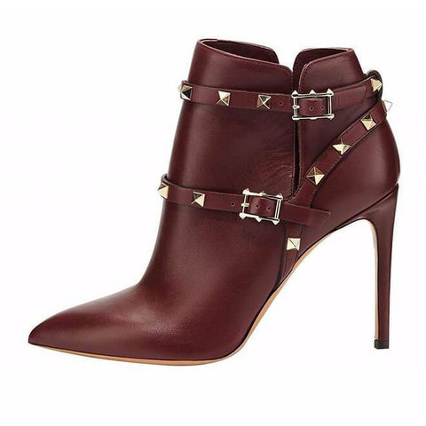 Buckle Rivet High Heel Ankle Boots