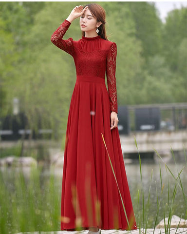 Charming Long Lace Sleeves Pleated Chiffon Long Red Maxi Dress - Shoes-Party - 2
