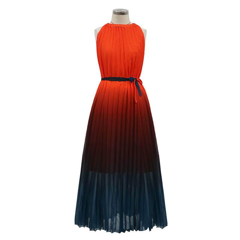 Gradient Color Large Hem Pleated Long Dress