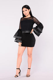 Transparent Long Trumpet Sleeves Blouse with Short Bodycon Skirt Two Pieces Set