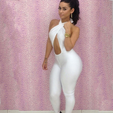 Sexy Sleeveless Halter Stretch Cutout Bodycon Skinny Jumpsuits