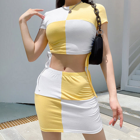 Party Color Block High Waist Bandage Two Pieces Set