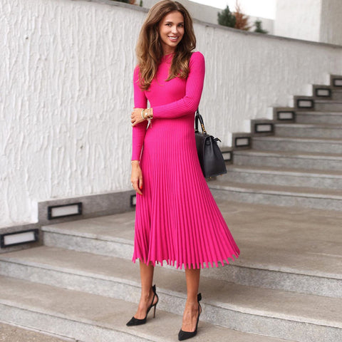 Plain High Waist Long Sleeve Pleated Dress