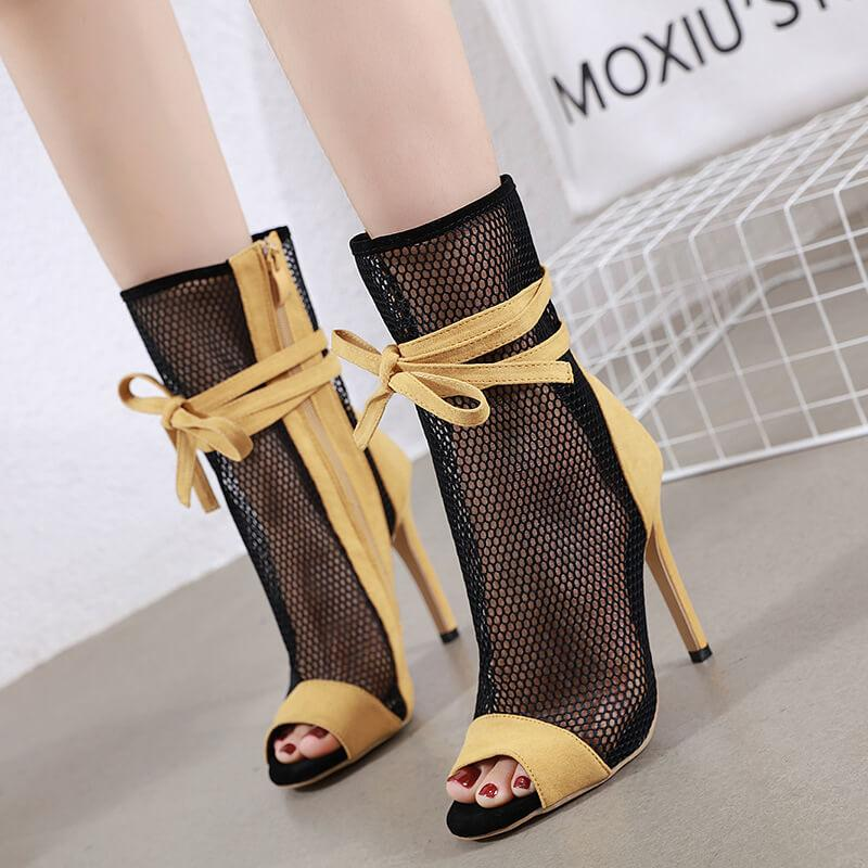 Yellow Strappy Ankle Peep Toe Sandals