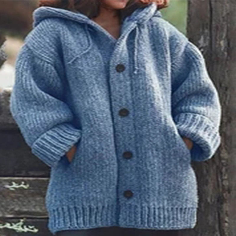 Pure Color Hooded Knit Cardigan Sweater