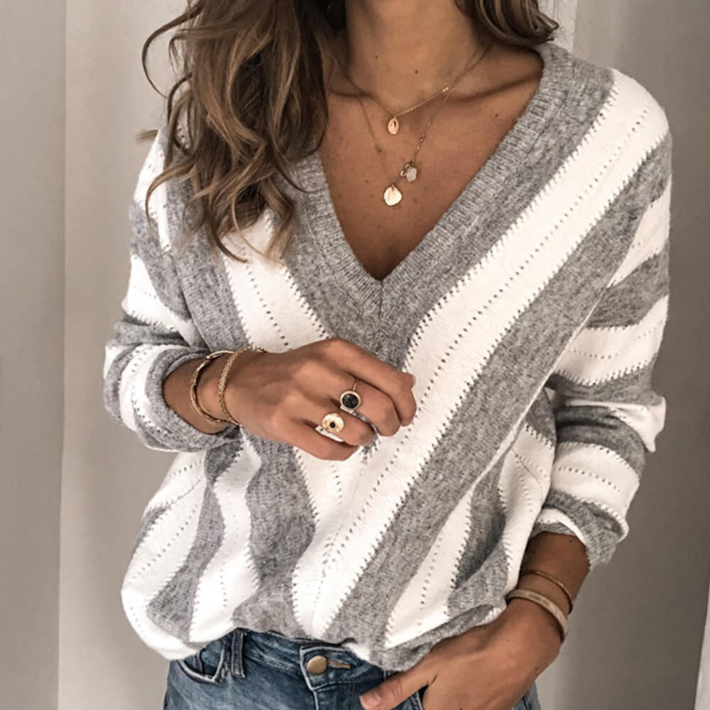 V Neck Colorblock Striped Sweater