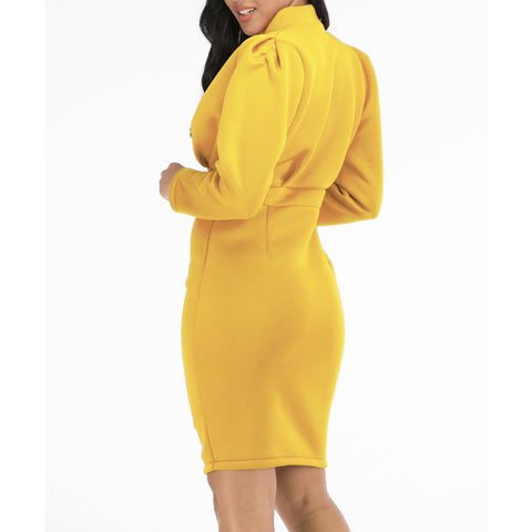 Plain Puff Sleeve V Neck Bodycon Dress