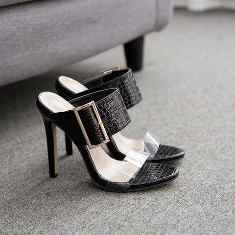Black Leather High Heel Buckle Mules Sandals