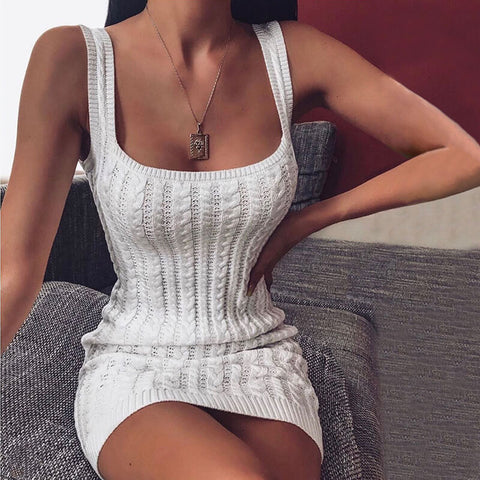 Tight Strap Knit Bodycon Sweater Dress