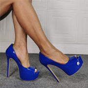 Blue PU Platform Peep Toe High Heel Sandals