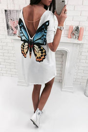 Flower Print Scoop Backless Short Sleeves Short Dress