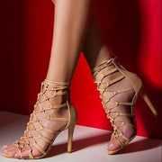 Nude Cutout Strap Leather Open Toe Sandals