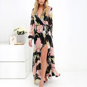 Sex V-neck Print Irregular Long Dress