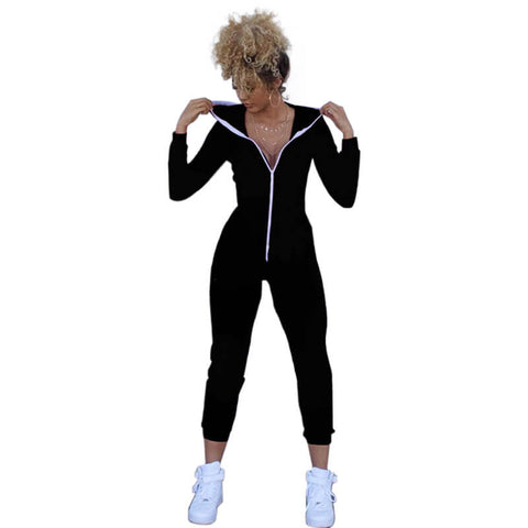 Bodycon Sports Fitting Hooded Jumpsuits