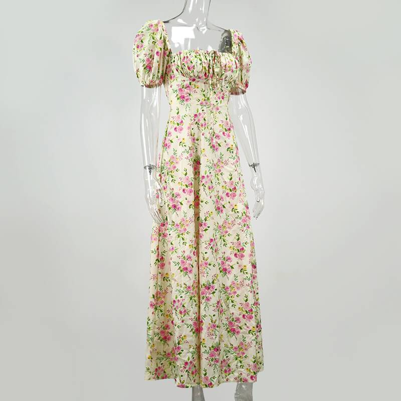 Floral Empire Waist A Line Long Dress