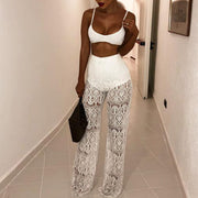 Sexy Wide Leg High Waist Lace Cutout Pants