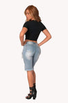 Pure Color Hole Denim Tassel Slim Shorts