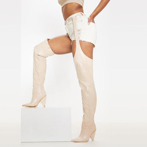 Party Leather Buckle Cutout Tight High Boots