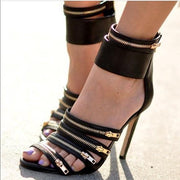 Zipper Decorate Open Toe Straps Ankle Band Wrap Stiletto High Heel Sandals