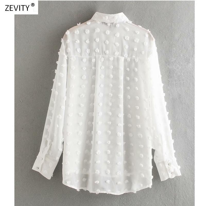 Fashion Dot Stitching Casual Chiffon Blouse Shirt Women Long Sleeve Chic Blusas Perspective White Chemise Tops