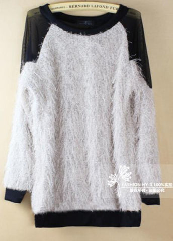 Mesh Patchwork Open Back Loose Sweater - Bags in Cart - 3