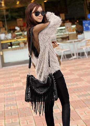 Mesh Patchwork Open Back Loose Sweater - Bags in Cart - 4
