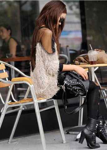 Mesh Patchwork Open Back Loose Sweater - Bags in Cart - 5