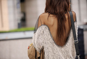 Mesh Patchwork Open Back Loose Sweater - Bags in Cart - 2