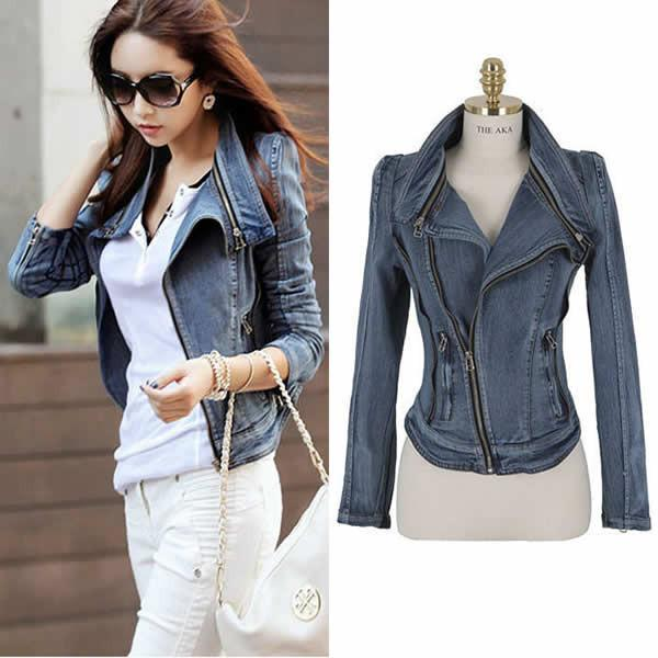 Slim Fit Zipper Long Sleeved Women's Denim Jacket - Bags in Cart - 3
