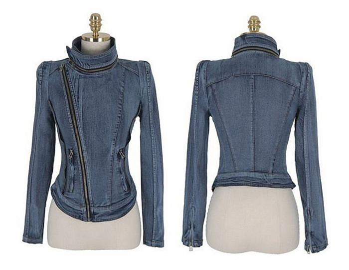 Slim Fit Zipper Long Sleeved Women's Denim Jacket - Bags in Cart - 4