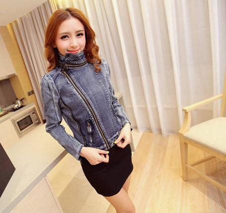 Slim Fit Zipper Long Sleeved Women's Denim Jacket - Bags in Cart - 5