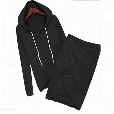 Two Pieces Sports Hoodie Knee-length Skirt Activewear Set - Bags in Cart - 3