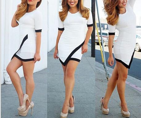 Slim Half Sleeve Patchwork Bodycon Mini Dress - Shoes-Party - 4
