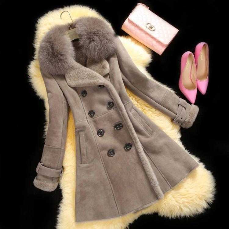 Lapel Fur Collar Long Fur Coat - Meet Yours Fashion - 1